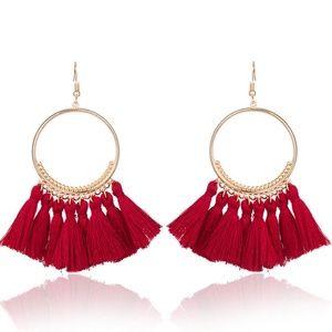 Jewelry - XMAS Long Tassel Fringe Boho Dangle Earrings ~ RED